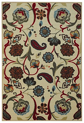 Anti-Bacterial Rubber Back RUGS RUNNERS Non-Skid/Slip 2x5 Runner Rug | Red Paisley Floral Garden Indoor/Outdoor Thin Low Profile Modern Home Floor Bathroom Kitchen Hallways Colorful Decorative Rug