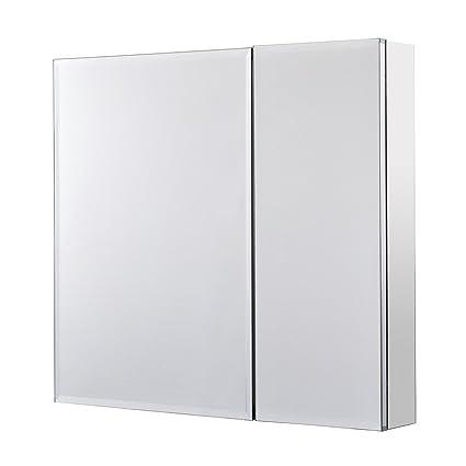 Utopia Alley Rustproof Medicine Cabinet, Glass Shelves, Mirrored Sides, Bi  View, 30u0026quot