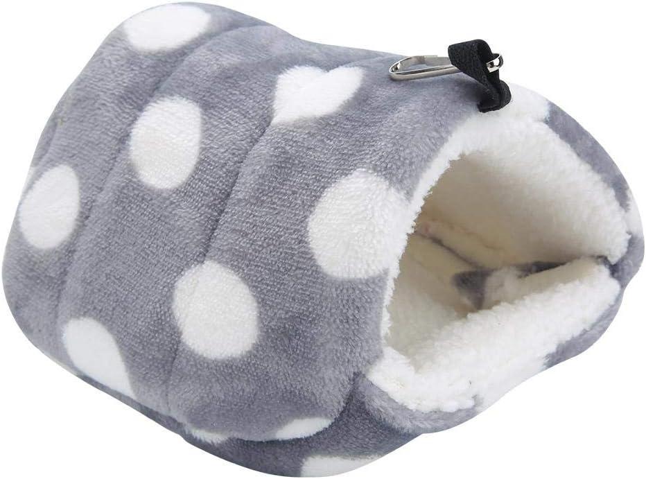 Pssopp Cama colgante para hámster de invierno cálida franela para hamster jaula nido hamaca casa para mascotas pequeñas ardilla azúcar planeador cobayas (punto grande gris) (punto grande S)