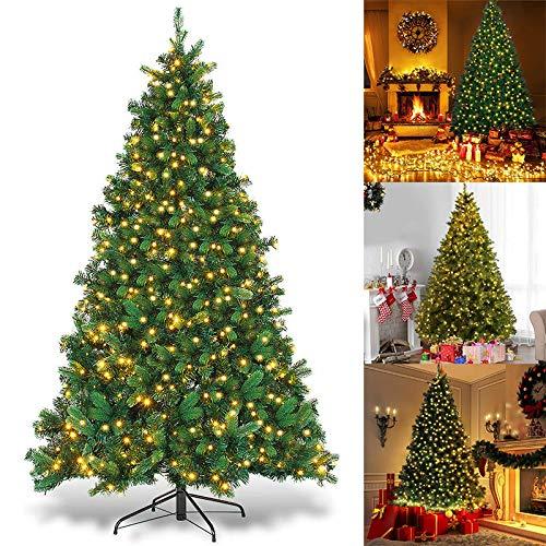 Artificial Christmas Xmas Tree,6ft/7ft/8ft Pre-Lit PVC Artificial Christmas Tree Xmas Pine Tree, Artificial Christmas Tree with LED Lights Hinged with Metal Stand Eco-Friendly Xmas Pine Tree (Xmas Trees Discount)