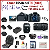 Canon EOS Rebel T3i SLR Digital Camera with Canon EF 50mm f/1.8 II and Canon EF 75-300mm f/4-5.6 III Lenses + Huge SSE Accessories Package, Best Gadgets
