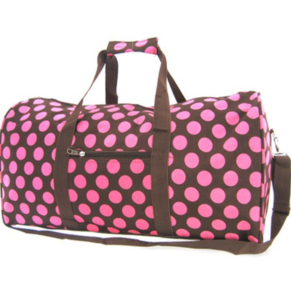 Large 22'' Pink Brown Polka Dot Duffle Dance Cheer Gym Pageant School Travel Bag