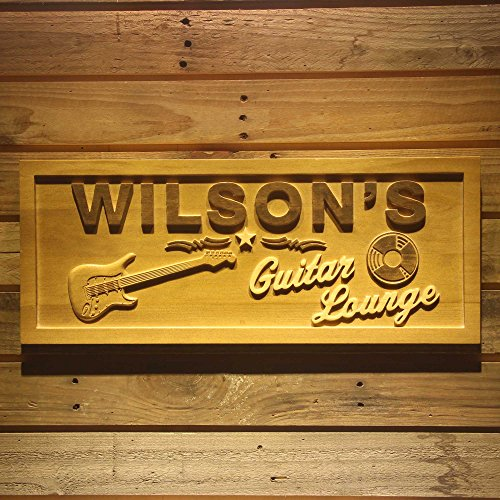 "ADVPRO wpa0057 Name Personalized Guitar Lounge Music Band Room Man Cave Den Beer Bar 3D Engraved Wooden Sign - Standard 23"" x 9.25"""