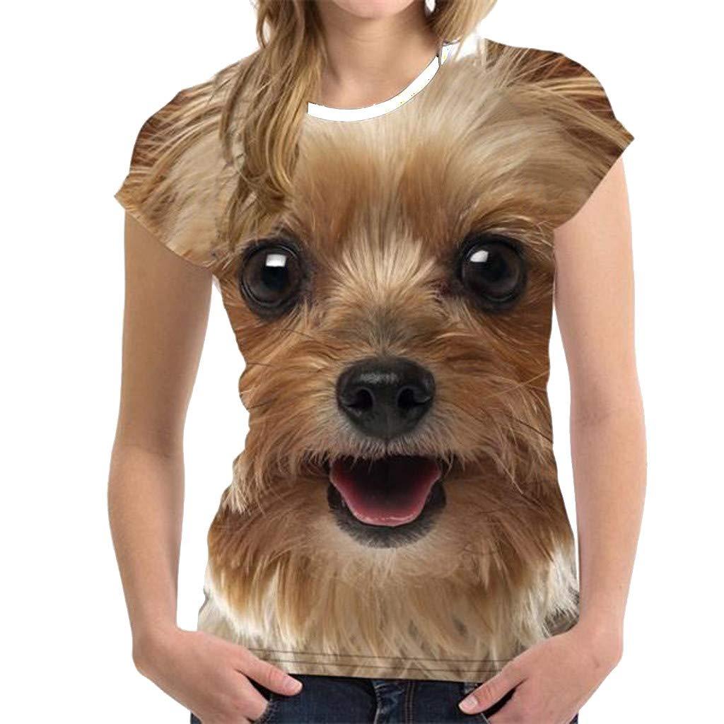 GridNN Women Summer Blouse Unisex Funny 3D Print Animal Summer Short Sleeve T-Shirts Top Blouse