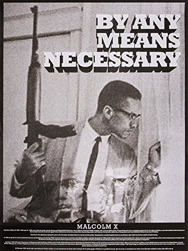 Malcolm X Poster By Any Means Necessary with Bio Print African American Black History (18x24)