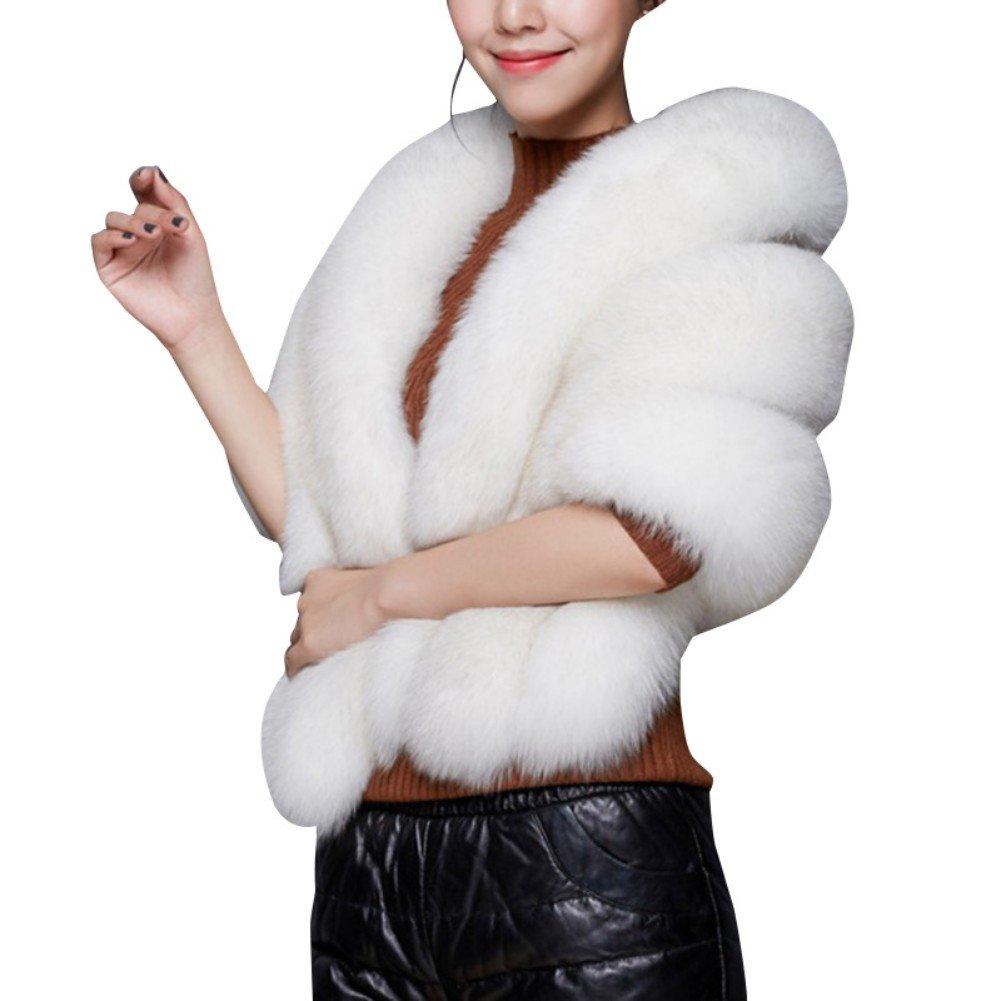 EFINNY Women Faux Fur Coat, Wedding Cape Shawl For Evening Party Warm Coat