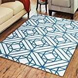 Superior Diamond Motif Wool Rug, 100% Wool Pile with Cotton Backing, Hand Tufted Luxury Rug, Contemporary Geometric Design - Teal & Ivory, 5' x 8'