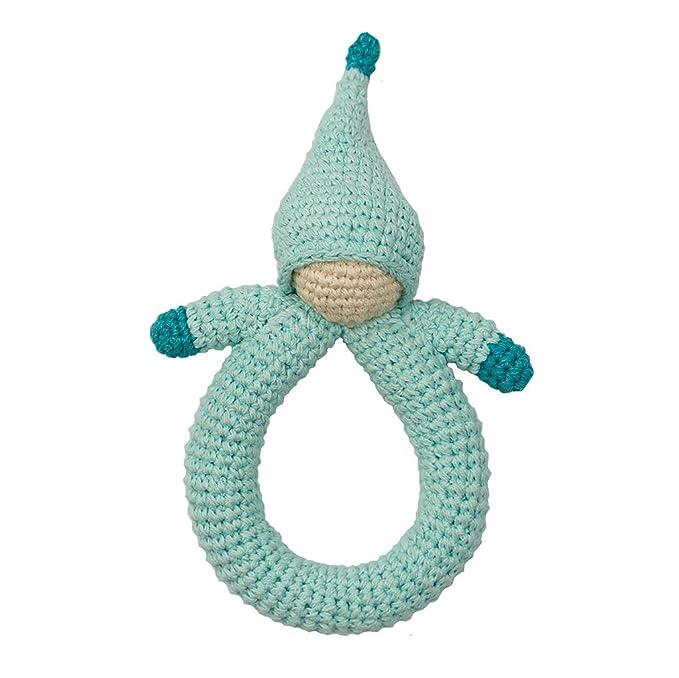 Babylonia Peppa sonajero muñeca creación de algodón orgánico azul: Amazon.es: Bebé