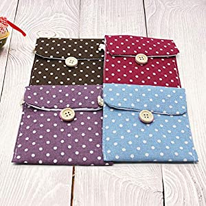 Pack of 4 Sanitary Napkins Bag, Nursing Pad Holder, Menstrual Cup Pouch, Cute Polka Dot Cotton (Set of 4)