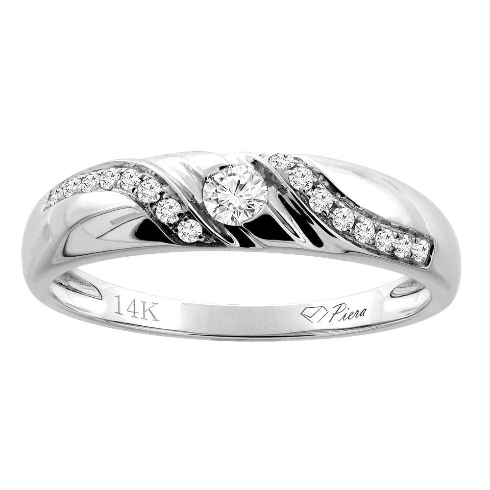 14K White Gold Ladies' Diamond Wedding Band 4 mm 0.13 cttw, size 10