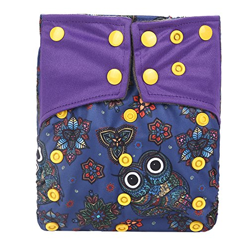 Bamboo Charcoal One Size Fit All Pocket Baby Cloth Diaper Nappy Cover Double Gussets ...