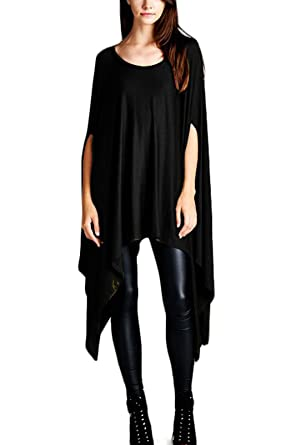 f1a18fb56203a Batwing Dress Womens Flared Solid Knit Poncho Tunic Top Black OS at ...