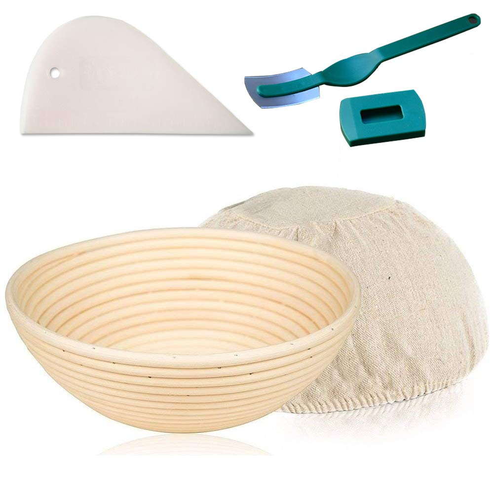 KoHuiJoo Bread Proofing Basket Set, Round Banneton Brotform Natural Rattan Bread Basket for Professional and Home Bakers, Bread Proofing Bowls with Removable Linen Cloth Liner + Dough Scraper + Lame