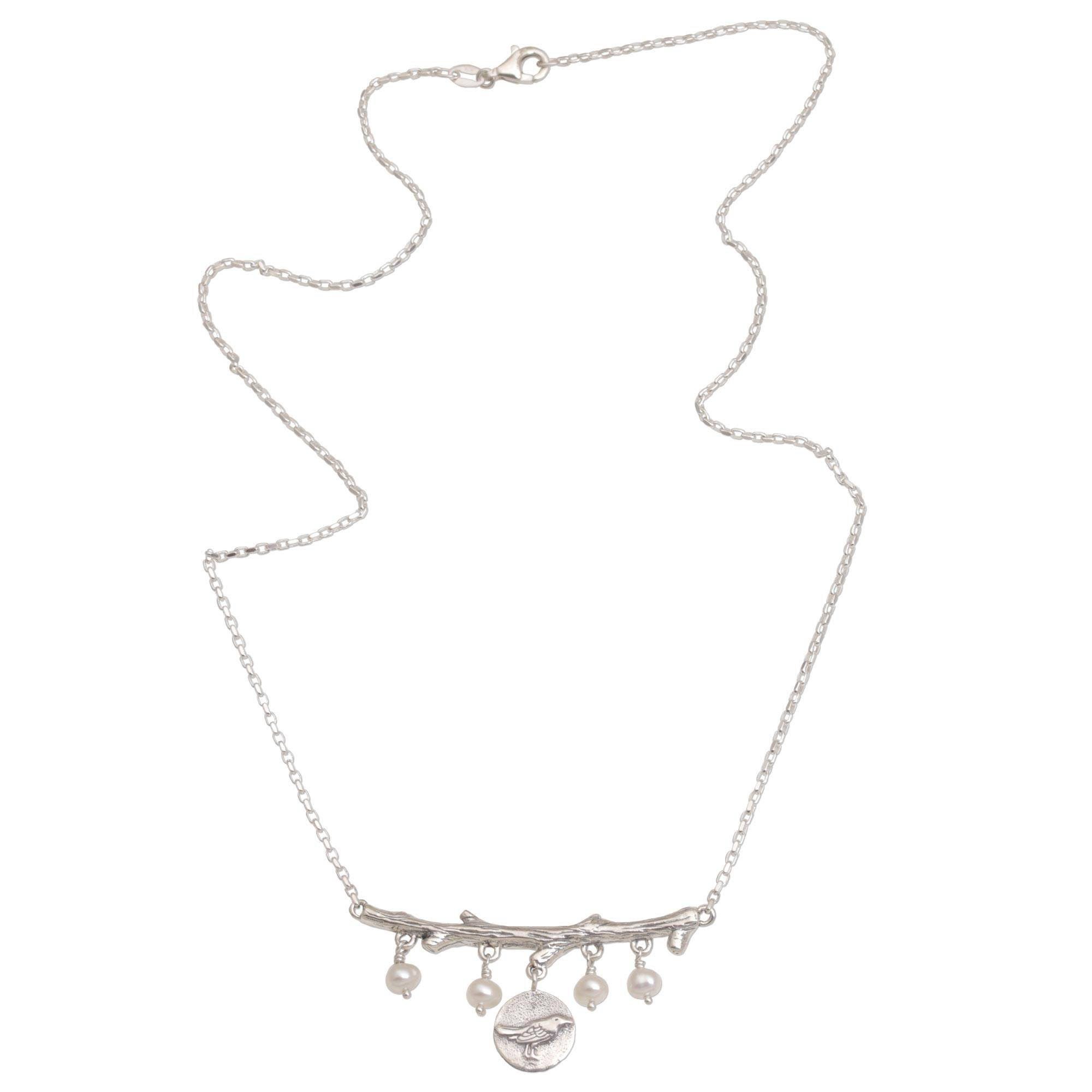 NOVICA Silver White Cultured Freshwater Pearl .925 Silver Necklace, 17.75'', 'Morning Chirp'