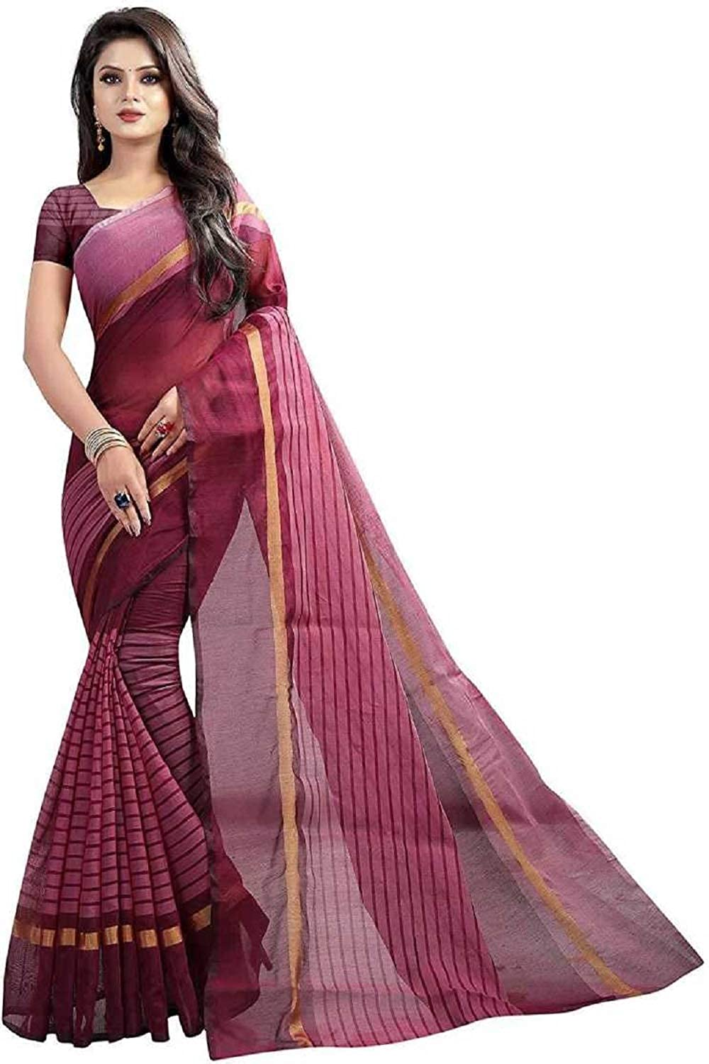 womens-poly-cotton-saree-with-blouse-piece