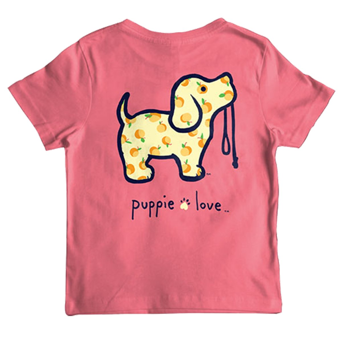 Puppie Love Youth Georgia Peach Pup Help Rescue Dogs T-Shirt-Youth Large