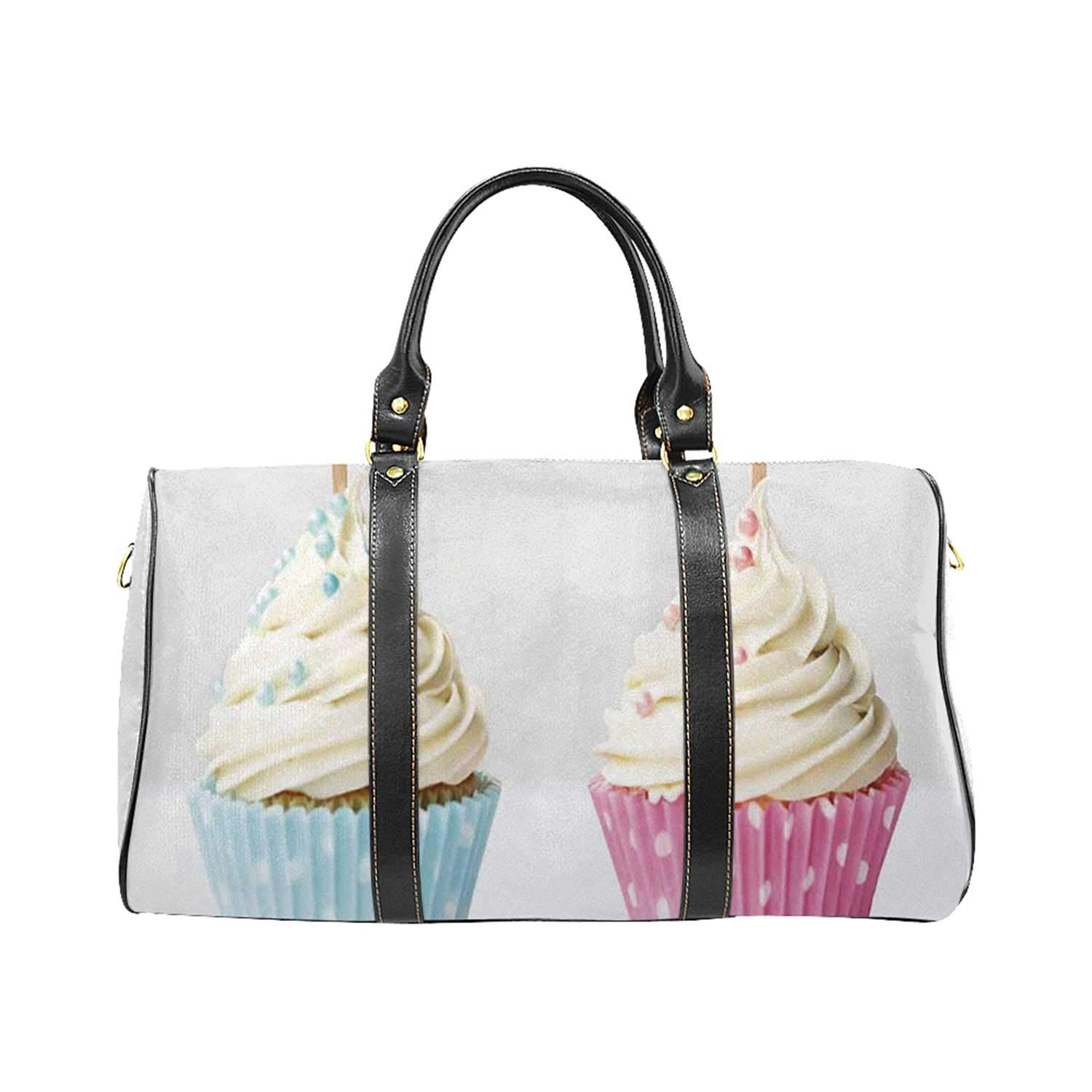 Gender Reveal Exquisite Travel Bag,Boy and Girl with Cupcakes Yummy Chocolate Celebration Theme for College by YOLIYANA