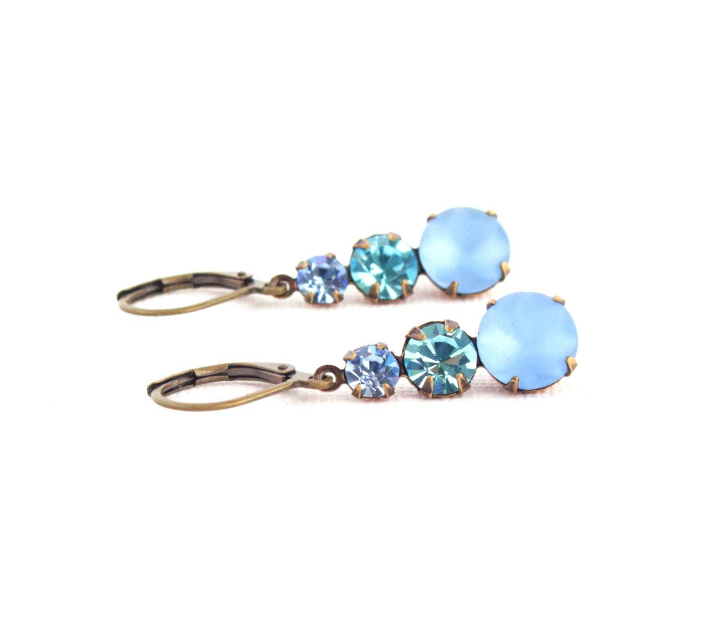Blue Crystal Drop Earrings on Brass Ear Wires