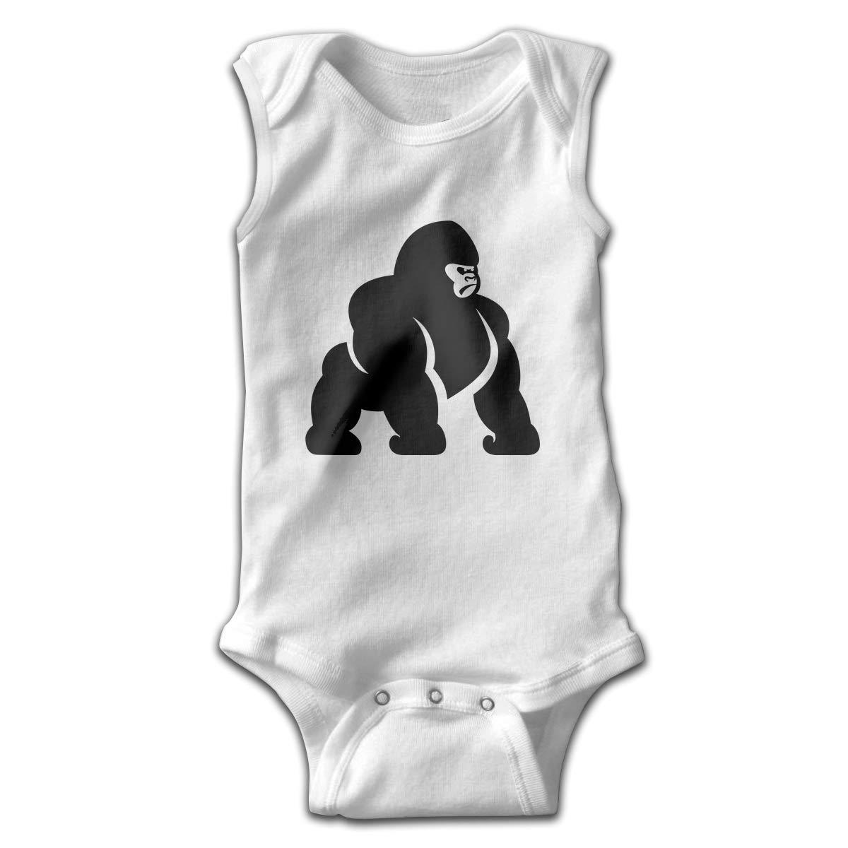 Dfenere Super Monkey Newborn Baby No Sleeve Bodysuit Romper Infant Summer Clothing White
