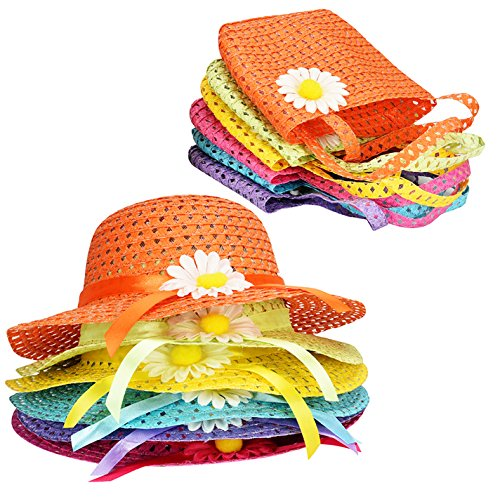 T O K G O - 6 Girls Tea Party Sun Hat and Purse Sets. Includes 6 Purses & 6 Daisy Flower Sunhats ()