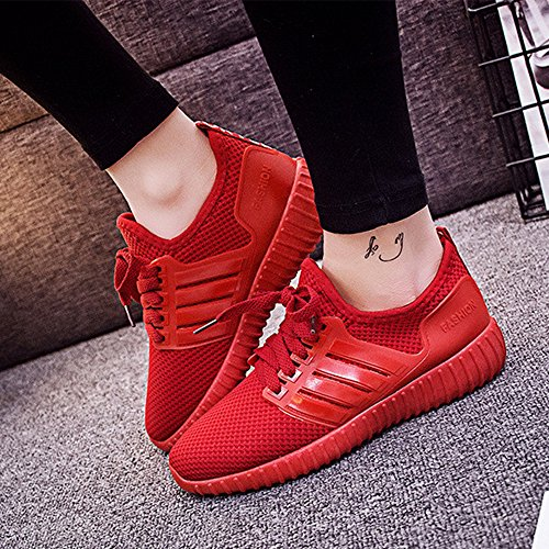 Turnschuhe Shoes Schnürer Atmungsaktiv Rot Wanderschuhe Sport Leichte Laufschuhe Fitness Damen Sfit Running Sneaker n7P8zz
