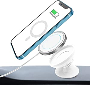Car Stand for Magsafe, Phone Mount with Magsafe Charger Case Holder, Sticky Magnetic Desk Stand, Compatible with iPhone 12/12 mini/12 Pro/12 Pro Max (White)