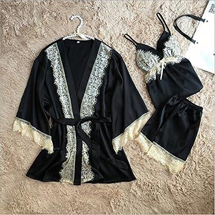 Wanglele La Mujer Pijama Batas De Seda Kimono Tracksuits Tirantes Cortos Trajes De Tres Piezas De