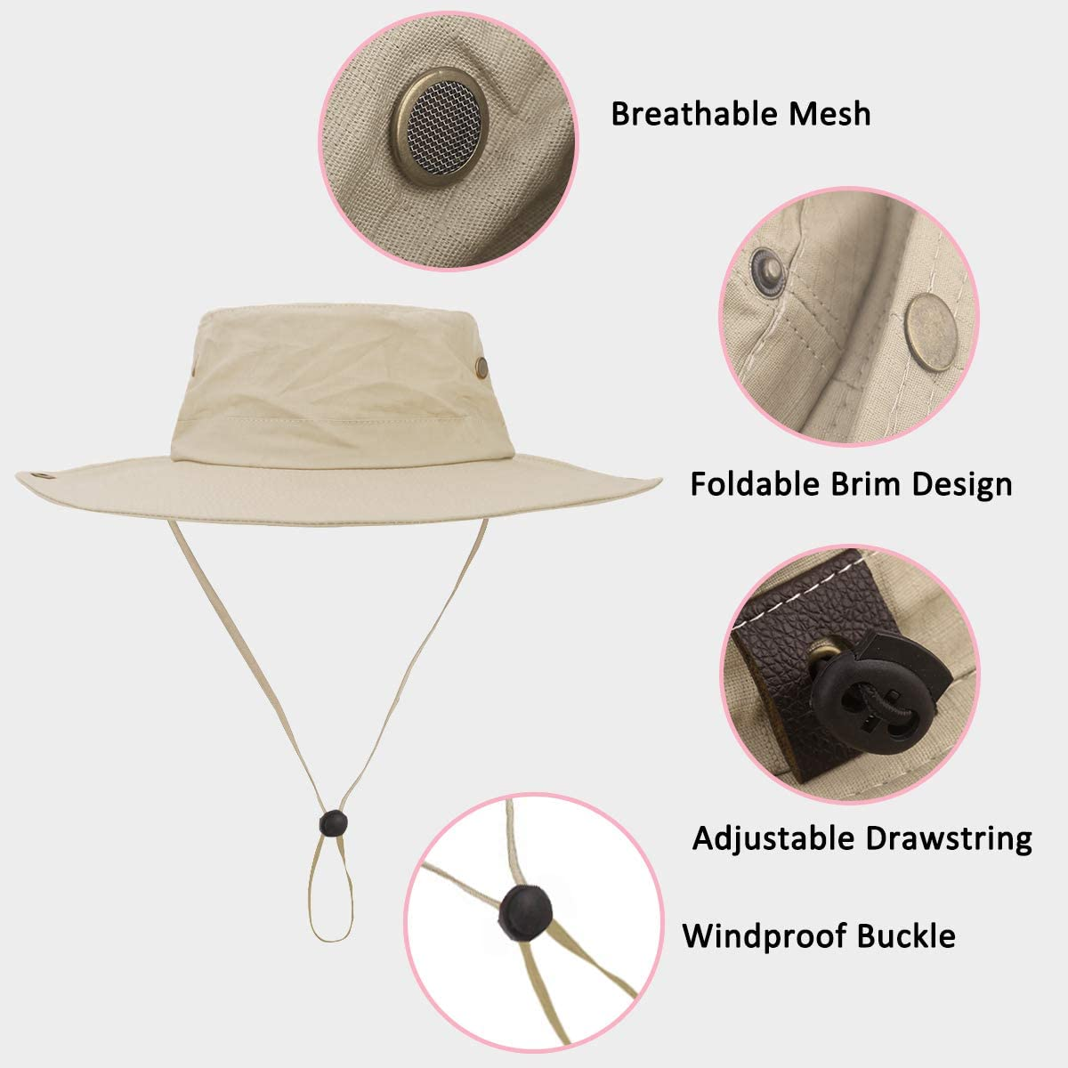 Belababy Womens Outdoor Sun Hat UV Protection Foldable Brim Beach Fishing Quick-Dry Breathable Mens Mesh Camping Hat