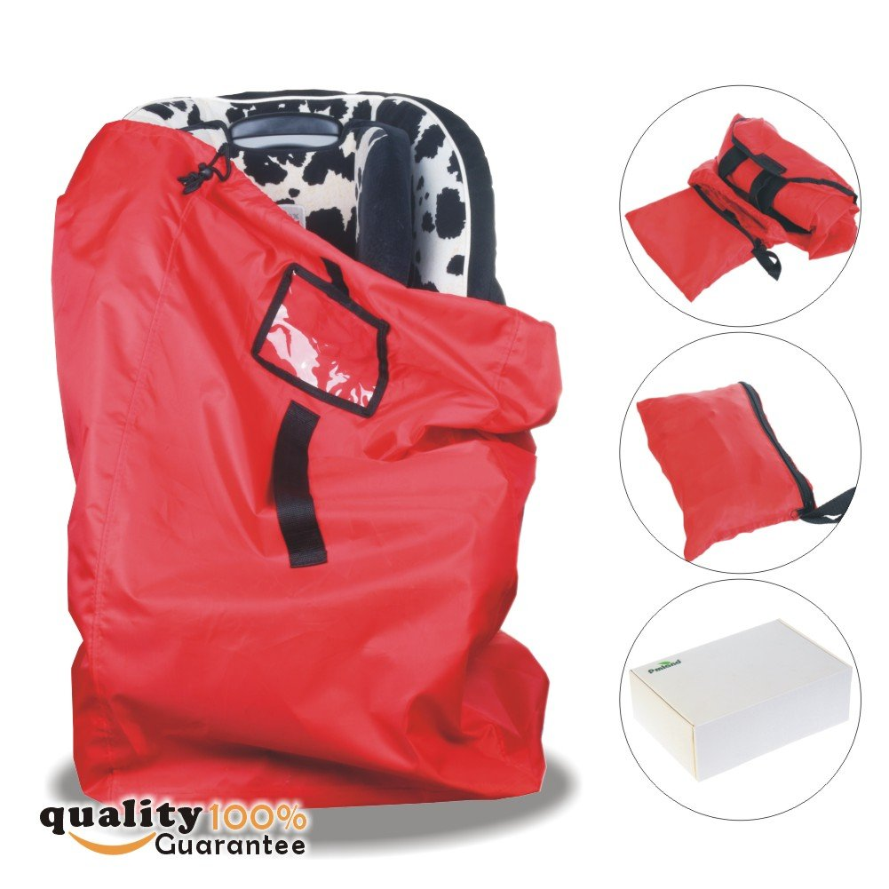 PMLAND Premium Quality Airport Gate Check Bag for Car Seats with Backpack Style Shoulder Strape and Drawstring Ballistic Nylon (Red)