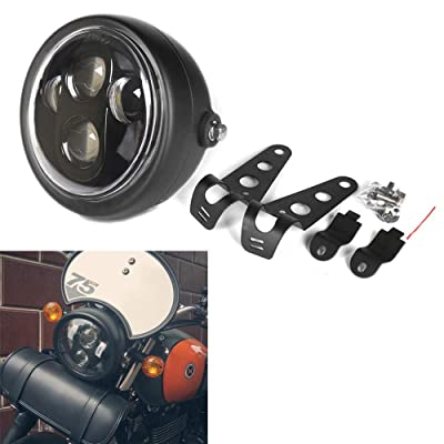 HOZAN Black Motorcycle Headlight Housing with 5.75 5-3/4inch LED Headlight for Honda Shadow Harley Suzuki Motorbikes Metric bikes Cruisers Choppers: Automotive