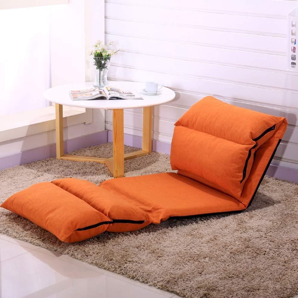 JIEER-C stol golvstol fritid hopfällbar golvstol multinivåjustering lat soffa avtagbar och tvättbar liten lägenhet vilstol för balkong sovrum, vinröd Orange
