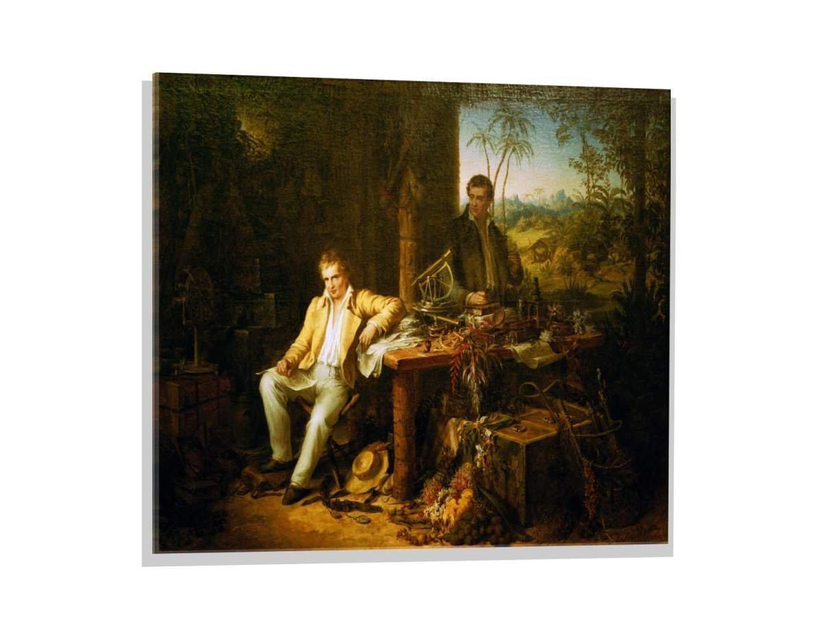 Kunst für alle Glasbild  Eduard Ender Humboldt und Bonpland am Orinoco, hochwertiges Wandbild, brillanter Druck auf Echtglas, 80x60 cm