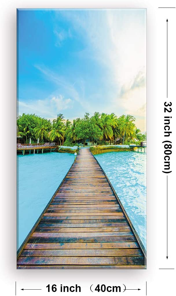 Natural Framed Canvas Picture 4 Sizes Available! Tropical Island Beach