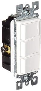 Leviton 1755-W 15 Amp, 120 Volt, Decora Single-Pole, AC Combination Switch, Commercial Grade, Non-Grounded, White