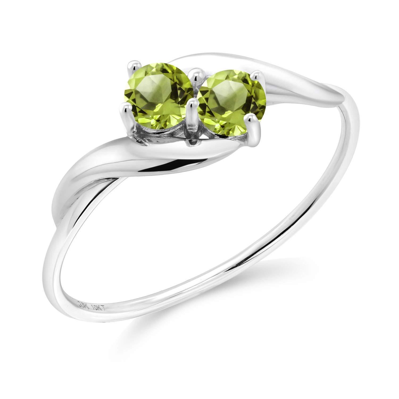 Gem Stone King 0.41 Ct Round Green Peridot 10K White Gold Ring (Size 7)