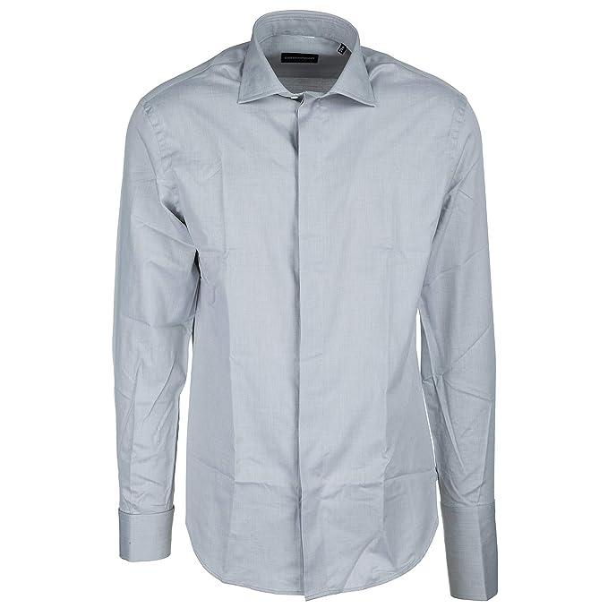 Emporio Armani camisa de mangas largas hombre nuevo gris EU 40 (UK 15.5) W1CMEGW1EC6600: Amazon.es: Ropa y accesorios