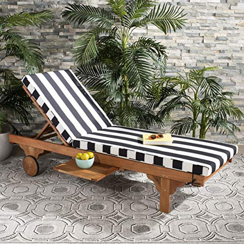 (Safavieh PAT7022D Outdoor Collection Newport Teak, Black and White Chaise Side Table Lounge Chair)