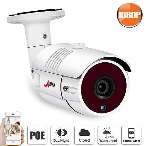 1080P Cámara de Videovigilancia PoE Exterior, ANRAN IP Cámara de Vigilancia PoE Exterior 2MP HD Cámara de Seguridad PoE Cámara IP de Bala, Visión ...