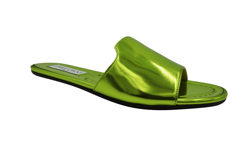 Jimmy Choo Nanda Green Metallic Slides 37 by JIMMY CHOO