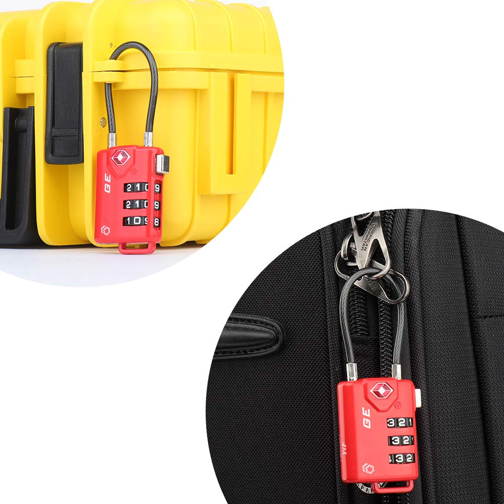 TSA Approved Cable Luggage Locks, Re-settable Combination with Alloy Body … (Red Two Pack) by Forge (Image #6)