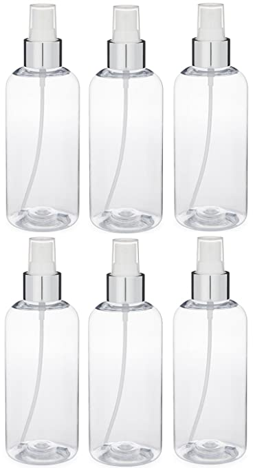 3c92b6a38983 Momoka's Apron Set of 6 Refillable Clear Plastic Bottles (8 Ounce) with  Silver Color Fine Mist...