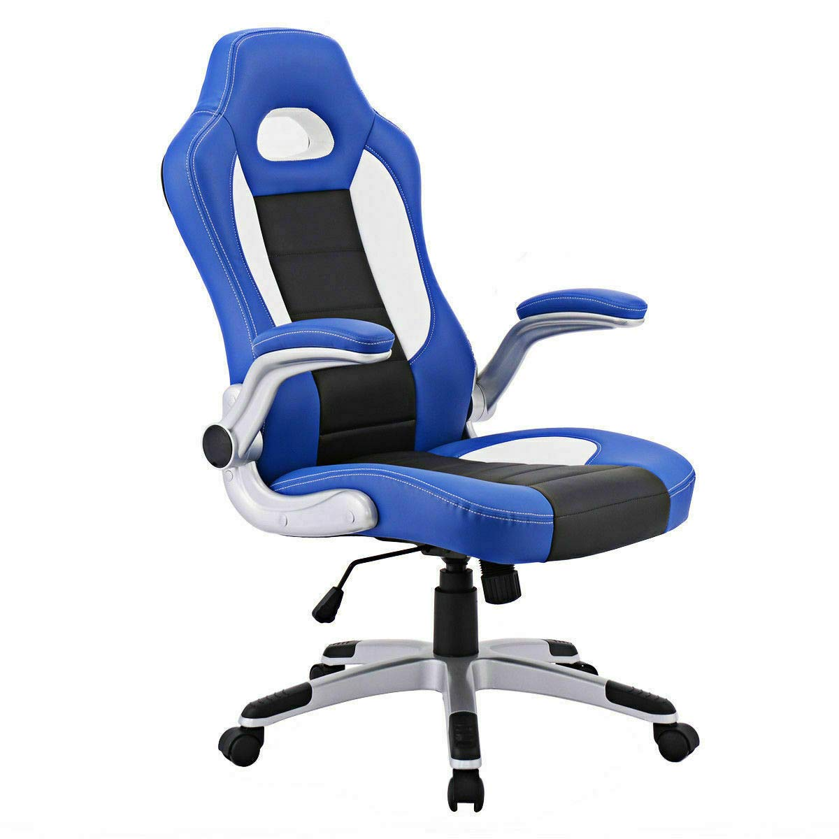 Seleq Blue PU Leather High Back Desk Chair Racing Style with Lifting Armrests for Office