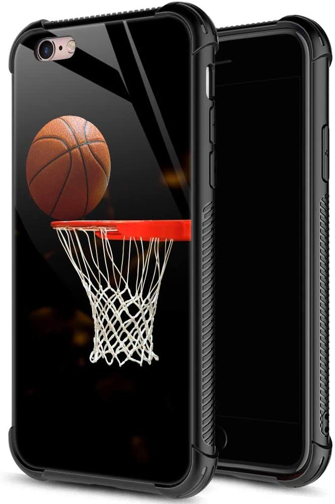 ZHEGAILIAN iPhone 6s Plus Case,9H Tempered Glass iPhone 6 Plus Cases for Men Boys,Funny Basketball Pattern Design Printing Shockproof Anti-Scratch Case for Apple iPhone 6/6s Plus 5.5 inch Basketball