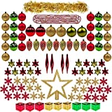 ITART 100ct Christmas Tree Ornaments Decorations Assortment including Tree Topper Balls Snowflakes Stars Pine Cones Miniature Gift Boxes Tinsel and Beads Garlands Finial (Red, Gold and Green)