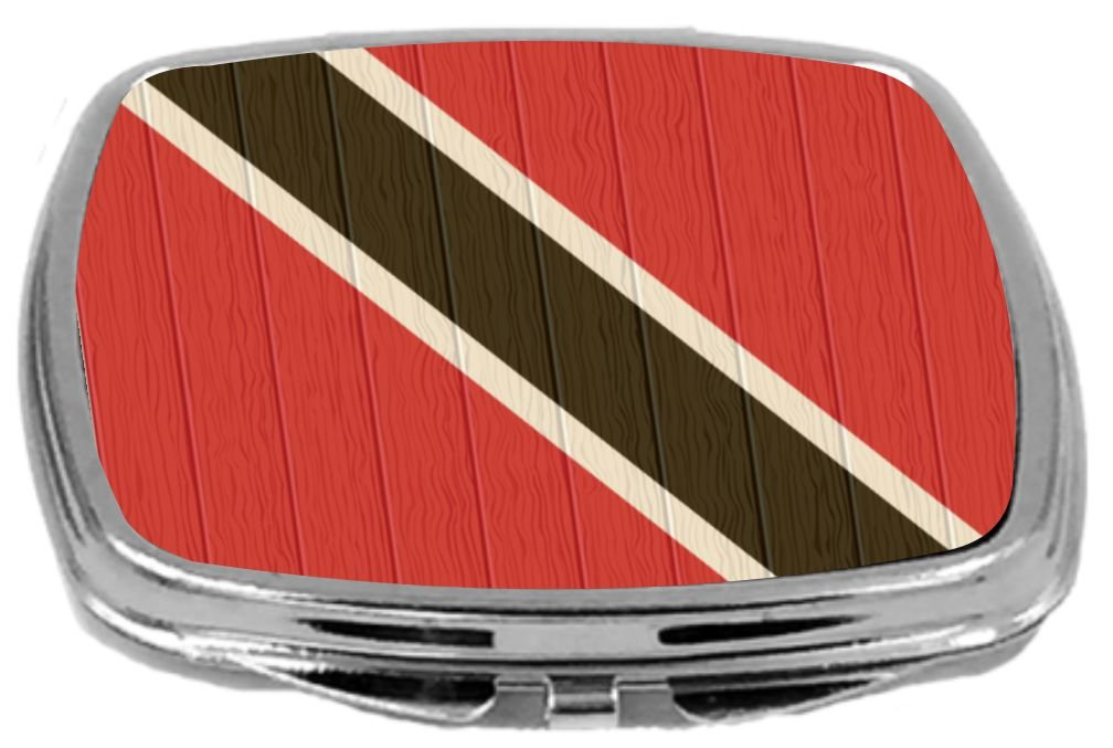 Rikki Knight Compact Mirror on Distressed Wood Design, Trinidad and Tobago Flag, 3 Ounce