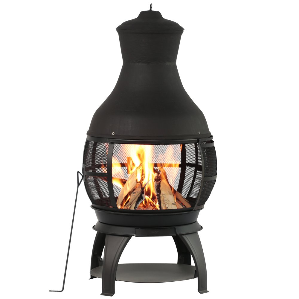 BALI OUTDOORS Outdoor Fireplace Wooden Fire Pit, Chimenea, Black by BALI OUTDOORS