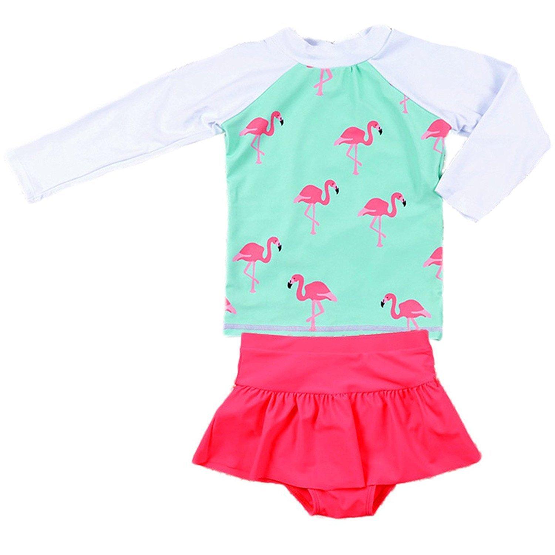 Jojobaby Baby Girls Kids 2Pcs Long Sleeve Flamingo Swimsuit Rash Guard Bathing Suit UPF 50+ UV