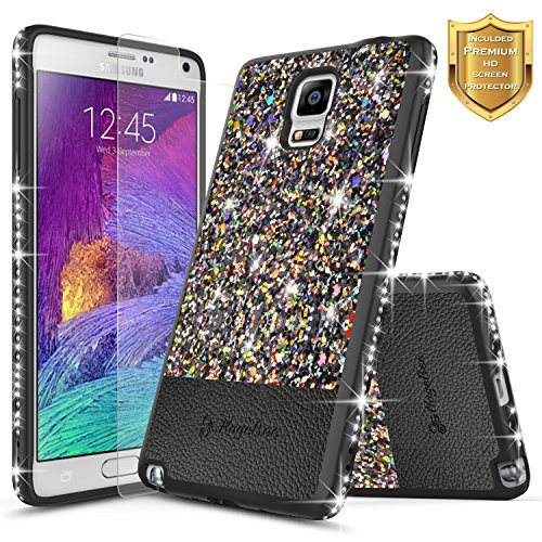 Galaxy Note 4 Case with [Screen Protector HD Clear], NageBee Shiny Diamond Glitter Bling Crystal Super Slim Protective Soft TPU Leather Hybrid Case for Samsung Galaxy Note 4 (Black)