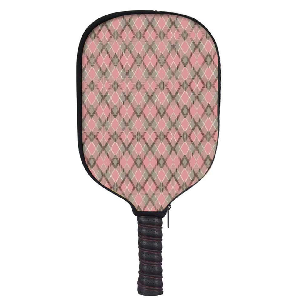 MOOCOM Abstract Fashion Racket Cover,Old Checkered Tartan Pattern Scottish Royal Folk Culture Stripes Ethnic Image for Playground,8.3'' W x 11.6'' H