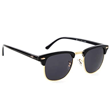 078ec10cc6 Dervin Black Lens Golden Frame Wayfarer Sunglasses for Men and Women ...